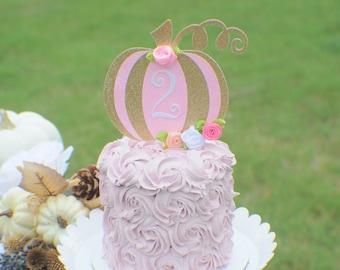 Pink Pumpkin Cake Topper, Halloween Cake topper, Pink and gold pumpkin cake topper, Pink pumpkin cake topper, gold pumpkin cake topper