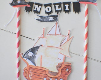 Pirate ship cake topper, Pirate cake topper, Pirate party