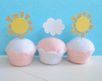 Sun Cup Cake Topper, Cloud cupcake topper, summer cupcake topper, summer party, sunhine cupcake topper, baby shower cupcake topper