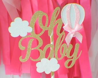 Oh baby cake topper, baby shower cake topper, new baby cake topper, hot air balloon cake topper, baby shower