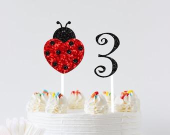 Ladybug Cake topper, ladybug topper, Birthday cake topper, Age cake topper, smashcake topper, first birthday cake topper, ladybug party