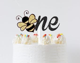 Bee Cake topper, bee topper, Birthday cake topper, One cake topper, bee one cake topper, smashcake topper, first birthday cake topper