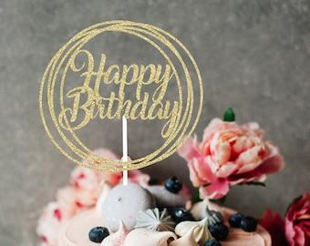 Happy Birthday Cake Topper, cake topper, happy birthday, birthday topper, gold birthday cake topper