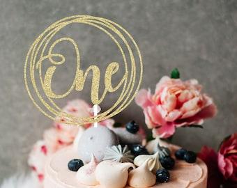 ONE Cake topper, gold cake topper, Gold one Cake Topper, Smash Cake Topper, First Birthday Cake Topper, birthday cake topper
