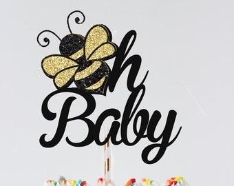 oh baby cake topper, Bee Cake topper, bee topper, Birthday cake topper, Bee baby shower, baby shower cake topper, smashcake topper