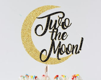 Two the Moon cake topper, star cake topper, cloud cake topper, second birthday cake topper, moon cake topper, space cake topper
