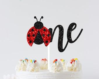 Ladybug cake topper, ladybug topper, Birthday cake topper, One cake topper, smashcake topper, first birthday cake topper. ladybug party