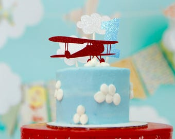 Airplane Cake topper, bi plane cake topper, Airplane party, vintage airplane cake topper, smashcake topper, birthday cake topper