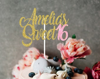 Happy Sweet Sixteen Cake Topper, Sweet 16 Cake Topper, Happy Sweet 16 Cake Topper, Sweet 16 Cake Topper, Personalized Cake Topper