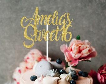Happy Sweet Sixteen Cake Topper, Sweet 16 Cake Topper, Happy Sweet 16 Cake Topper, Sweet 16 Cake Topper, Personalized Cake Topper