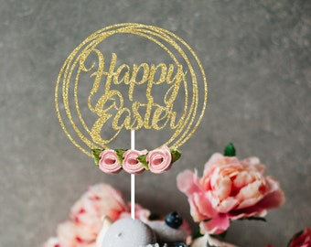 Easter Cake Topper, cake topper, Happy Easter cake topper, Easter party, Cake topper