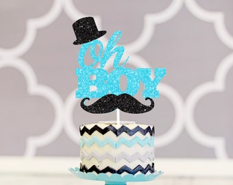 Oh boy cake topper, baby shower cake topper, new baby cake topper, oh baby cake topper, cake topper for boy, tophat cake topper, mustache