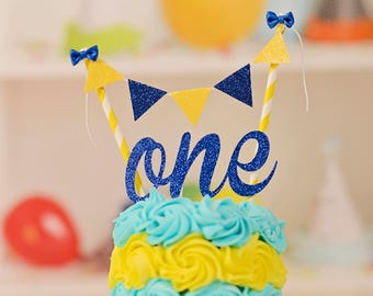 One Cake Topper First birthday cake topper ONE Smash Cake