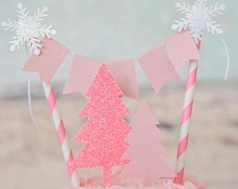 Winter wonderland cake topper, Snowflake cake topper, tree cake topper, forrest cake topper, smash cake topper, winter wonderland party