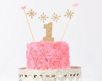 Snowflake cake topper, winter wonderland cake topper, smash cake topper, snow flake cake topper, winter party, first birthday cake topper