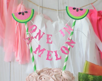 watermelon cake topper, One in a melon cake topper, tutti frutti cake topper, summer party, tutti fruti party, melon cake topper