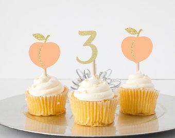 Peach cupcake topper, sweet as a peach cupcake topper, Georgia cupcake topper, Southern girl cupcake topper, cupcake topper