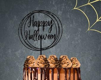 Halloween cake topper, happy Halloween cake topper, Halloween party, Circle cake topper, Bat cake topper, boo cake topper