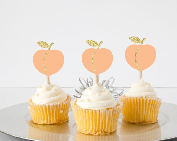 Featured listing image: Peach cupcake topper, sweet as a peach cupcake topper, Georgia cupcake topper, Southern girl cupcake topper, cupcake topper