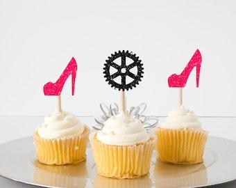 heels or wheels cupcake topper, gender reveal cupcake topper, boy or girl cupcake topper, baby shower cupcake topper, gender reveal party