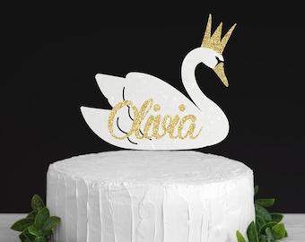 Swan cake topper, princess cake topper, swan lake cake topper, swan princess cake topper, cake toppe, first birthday cake topper,