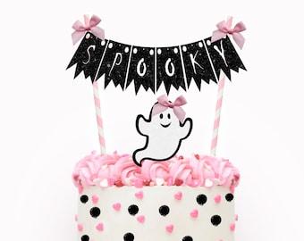 Halloween cake topper, ghost cake topper, halloween party, spooky cake topper, pink Halloween cake topper, pink halloween, girly halloween