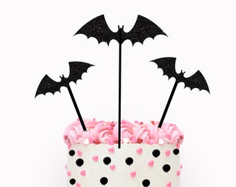 Halloween cake topper, Bat cake topper, halloween party, spooky cake topper, pink Halloween cake topper, pink halloween, girly halloween