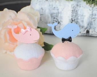 Gender reveal cupcake toppers, gender reveal party, boy or girl cupcake toppers, whale cupcake toppers