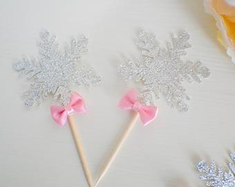 snowflake cupcake topper, winter wonderland cupcake topper, Winter wonderland, snow cupcake topper