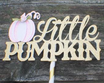Little pumpkin cake topper, pink pumpkin cake topper, Pink pumkin party, Little pumpkin party, gold pumkin cake topper, pumpkin smash cake