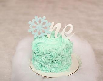 snowflake cake topper, One cake topper, Winter Wonderland cake topper, First birthday cake topper