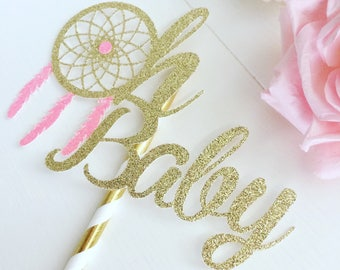 Oh baby cake topper, dreamcather cake topper, baby shower cake topper, new baby cake topper, boho babyshower