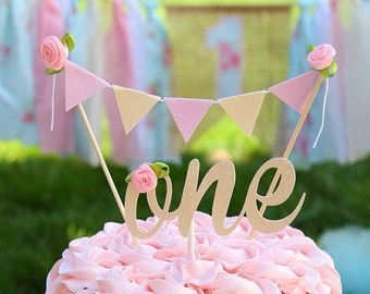 One Cake Topper, First birthday cake topper, ONE Smash Cake Set,  Blush and Creme cake topper, smash cake topper, first birthday cake topper