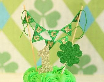 St. Patricks Day Cake Topper, Luck Cake Topper, shamrock cake topper, St. Patrick's Day, lucky one cake topper, first birthday cake topper