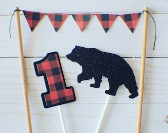 Lumberjack cake topper, Woodsman cake topper, Woodland cake topper, Bear cake topper, lumberjack party, buffalo plaid cake topper