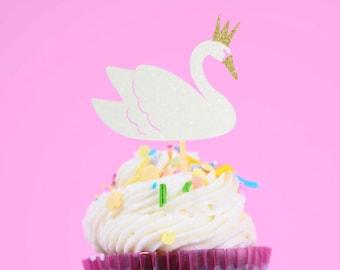 Swan Cupcake topper, princess cupcake topper, swan lake cupcake topper