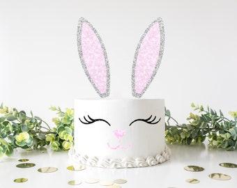 Bunny Face Cake Topper, Easter cake topper, Happy easter cake topper, easter bunny cake topper