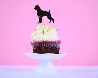 Boxer cupcake toppers, dog cupcake toppers (12 toppers)