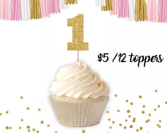Number 1 Cupcake Toppers, cupcake toppers, birthday cupcake topper, age cupcake topper, number cupcake topper, first birthday cupcake