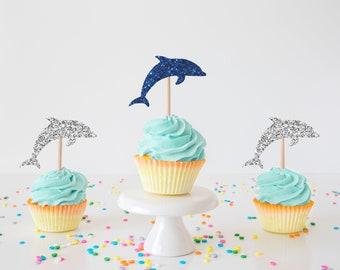 Dolphin cupcake topper, Dolphin topper, Dolphin party