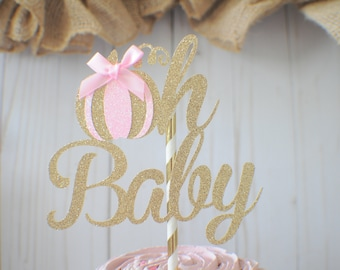Pink Pumpkin Cake Topper, oh baby cake topper, Hello little pumpkin cake topper, pumpkin cake topper, Pumkin cake topper, Baby shower