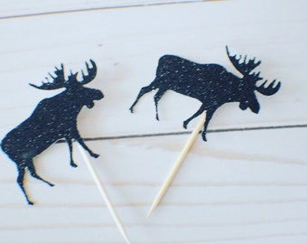 Moose cupcake topper, cupcake toppers, birthday cupcake topper, age cupcake topper, woodland cupcake topper, lumberjack cupcake topper