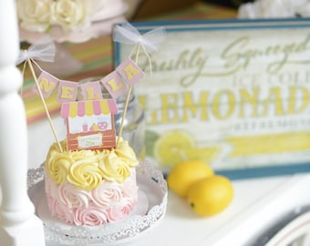 Lemonade Stand Cake Topper, lemonade cake topper, lemonade party, smashcake topper, birthday cake topper, cake topper, lemon cake topper
