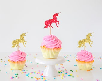Unicorn cupcake toppers, cupcake toppers, unicorns, unicorn party, unicorn decoration (set of 12 toppers)