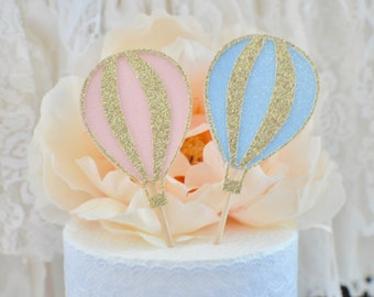 hot air balloon cupcake topper, balloon cupcake topper, hot air balloon party