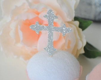 Cross cupcake toppers, Easter cupcake toppers, Baptism cupcake toppers, Christening Cupcake toppers. Baptism, Christening, Communion