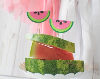 Watermelon cupcake topper, melon cupcake Topper, tutti frutti cake topper
