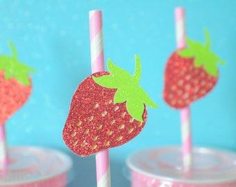 Strawberry straws, strawberry paper straws, fruit cupcake topper, strawberry party, farmersmarket party