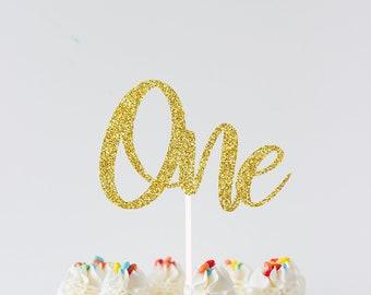 ONE Cake topper, gold cake topper, Gold one Cake Topper, Smash Cake Topper, First Birthday Cake Topper