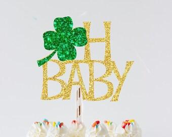 oh baby cake topper, Irish cake topper, Irish gender reveal cake topper, gender reveal cake topper, shamrock cake topper